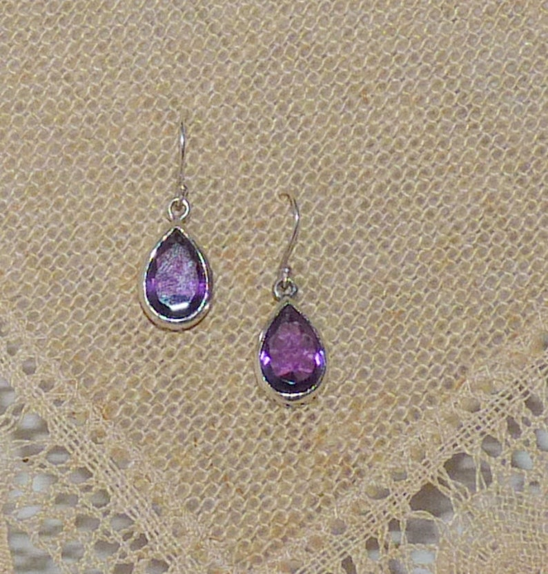 Pierced Amethyst Jewelry Pierced Vintage 925 Amethyst Faux Amethyst Sterling Silver Earrings 925 Purple Tear Dangle Geometric 925 Earrings