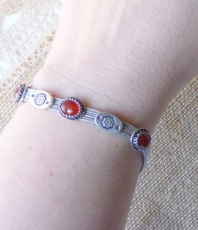 Retro Carnelian Jewelry 925 Sterling Silver 7 14 925 Carnelian Bracelet 12.95g Carnelian Chain Bracelet Carnelian Cabochon Bracelet