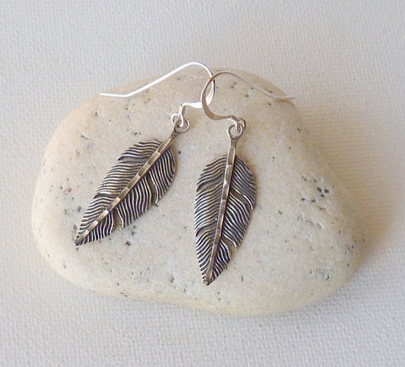 Sterling Silver Feather Earrings, Dangle Feathers