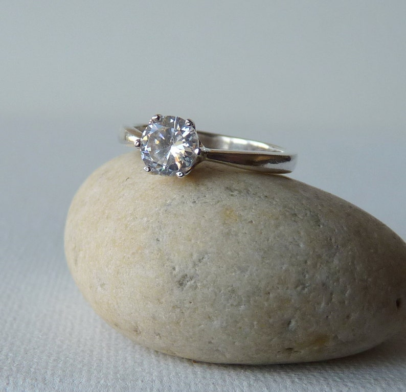 Size 6 12 Cocktail Ring Zirconia Princess Setting Ring Engagement Ring Dainty Ring Vintage Sterling Silver Cubic Zirconia Ring