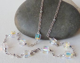 Swarovski Aurora Borealis Cube Sterling Silver Necklace,  Vintage Cube Crystall  Chain Necklace, Crystal Jewelry, Fashion 925 Accesories