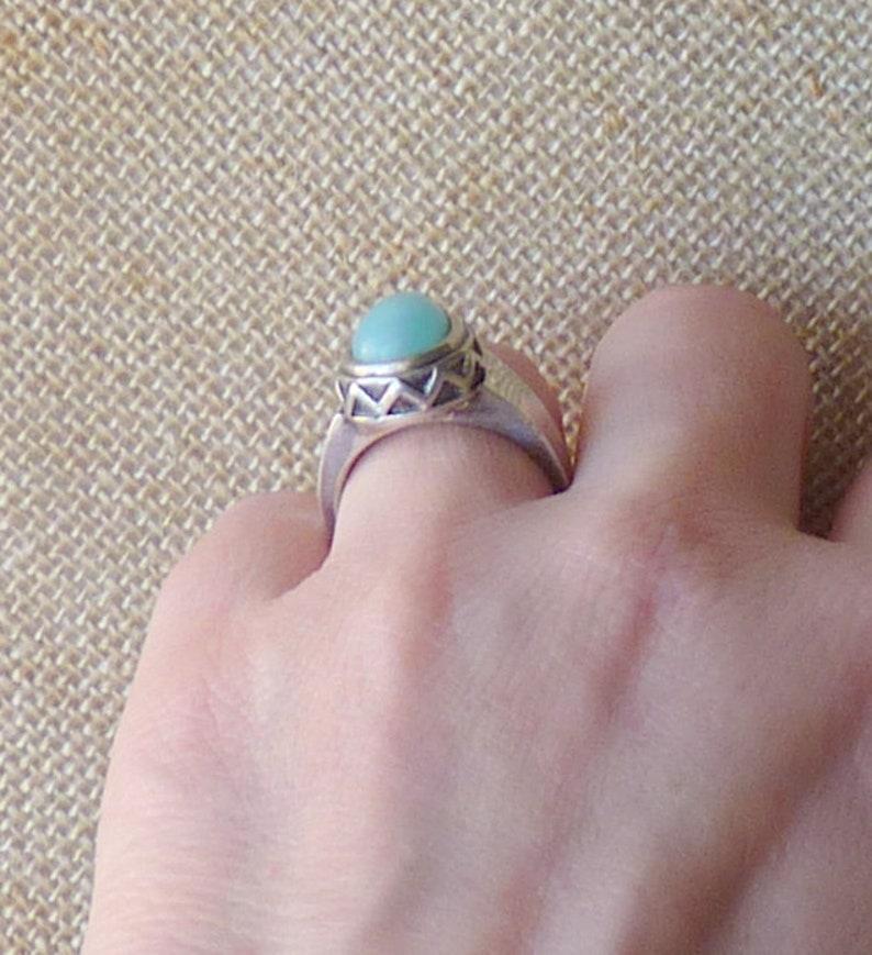 Sterling Silver Larimar Ring  Pear Shape Larimar Size 7 Ring  925 Larimar Teardrop Sterling Silver Jewelry 925 Modern Larimar Gemstone 925