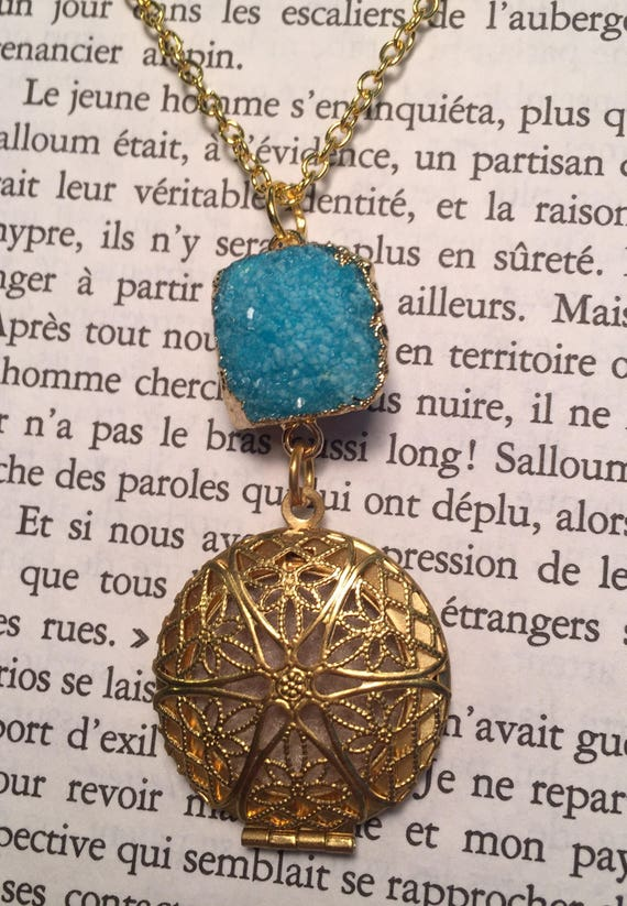 b22ab0142164 SALE Ready to ship Gold Tone Diffuser Locket Necklace