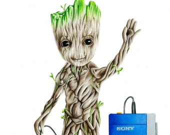 Baby Groot Drawing Etsy