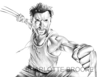 Wolverine Pencil Portrait Drawing Print