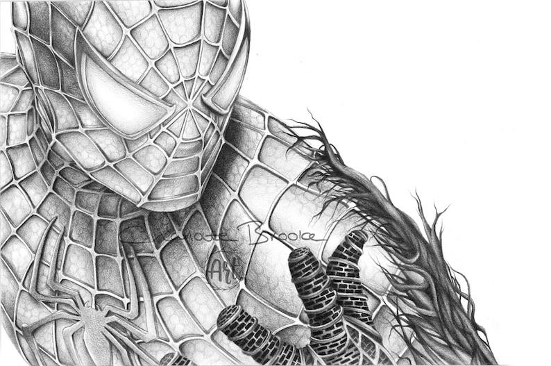 Spiderman Bleistift Zeichnung Portrait Druck Etsy