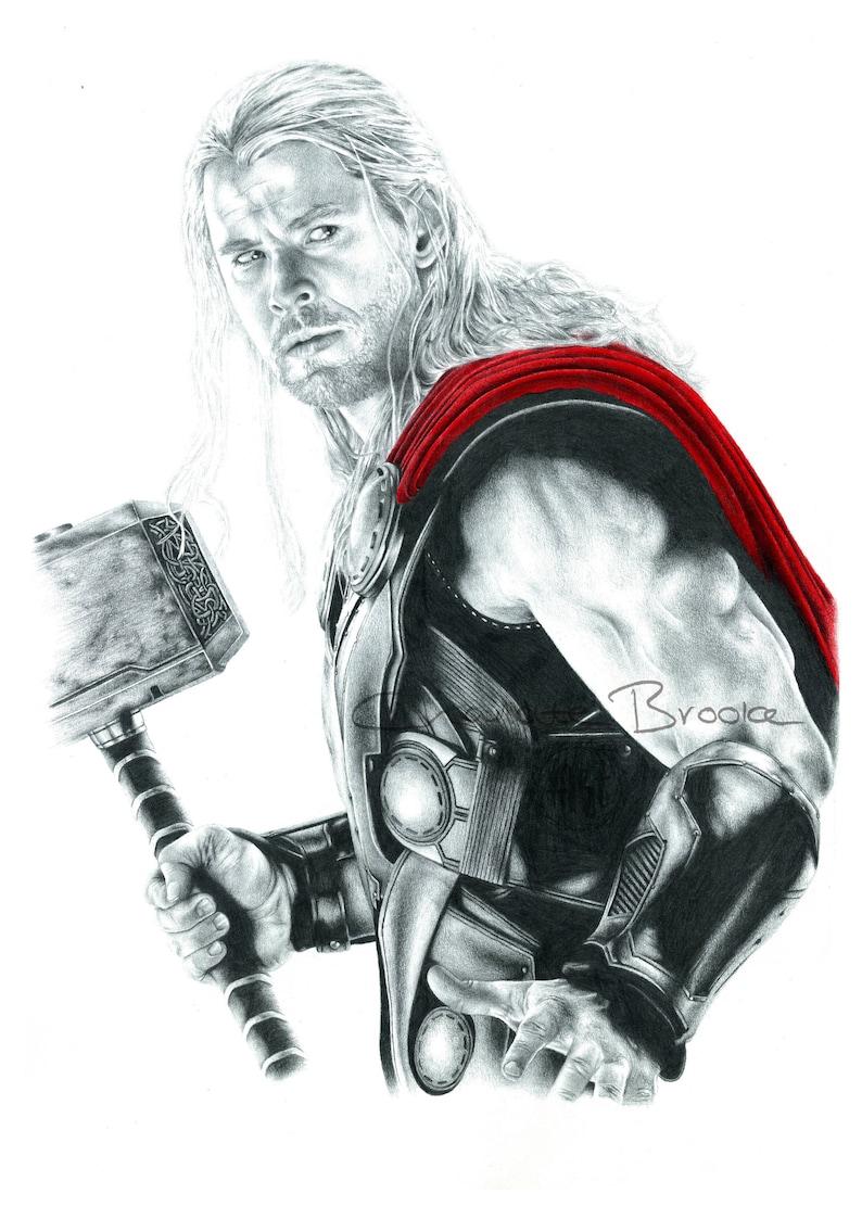 Thor pencil portrait drawing print