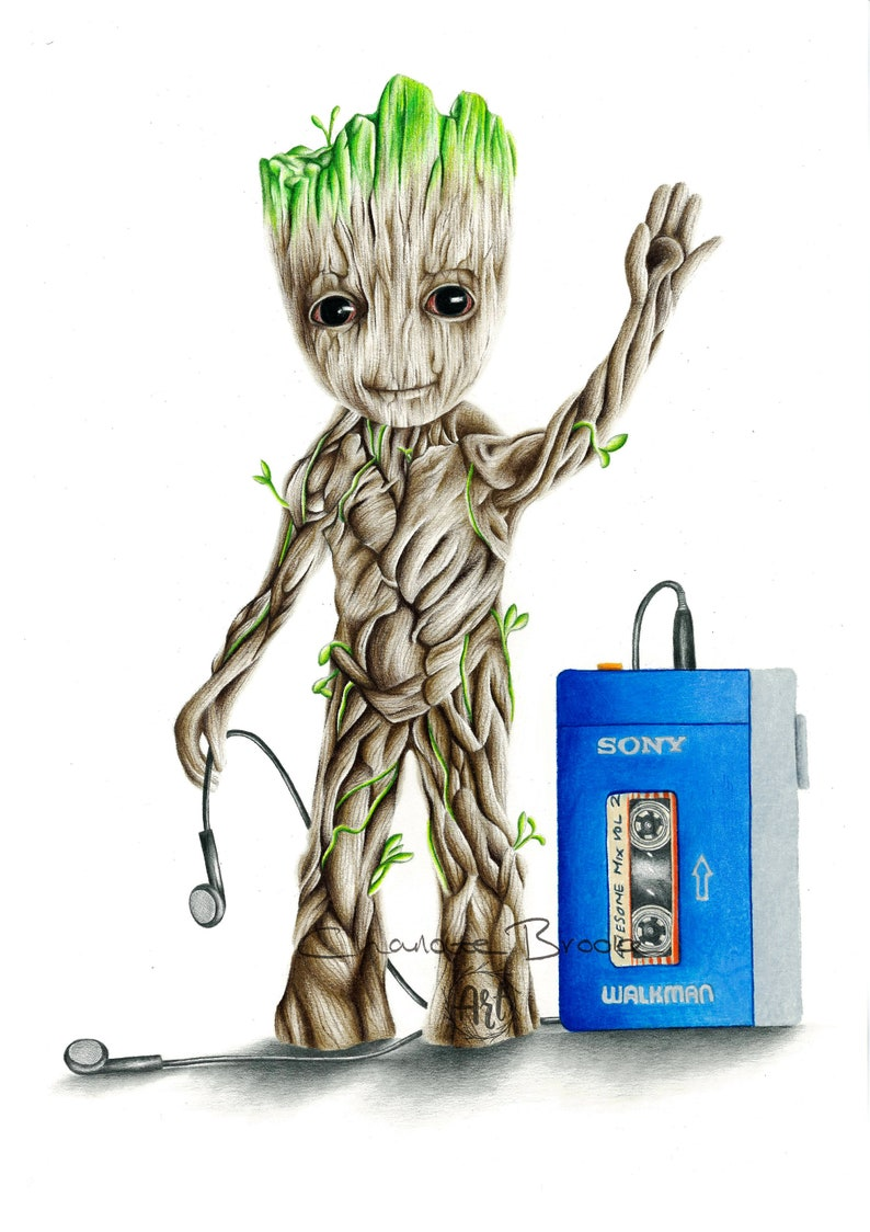 37173b0fd Baby Groot Pencil Portrait Drawing Print | Etsy