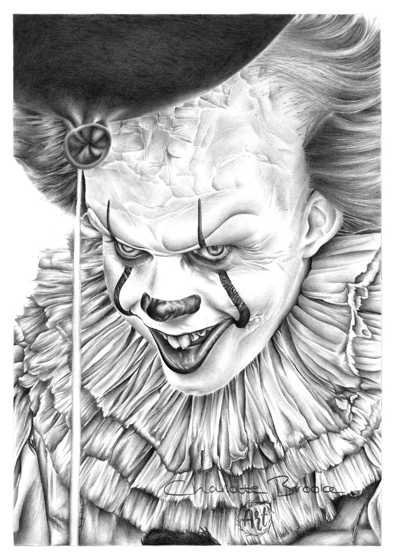 IT: Pennywise Pencil Portrait Drawing Print | Etsy