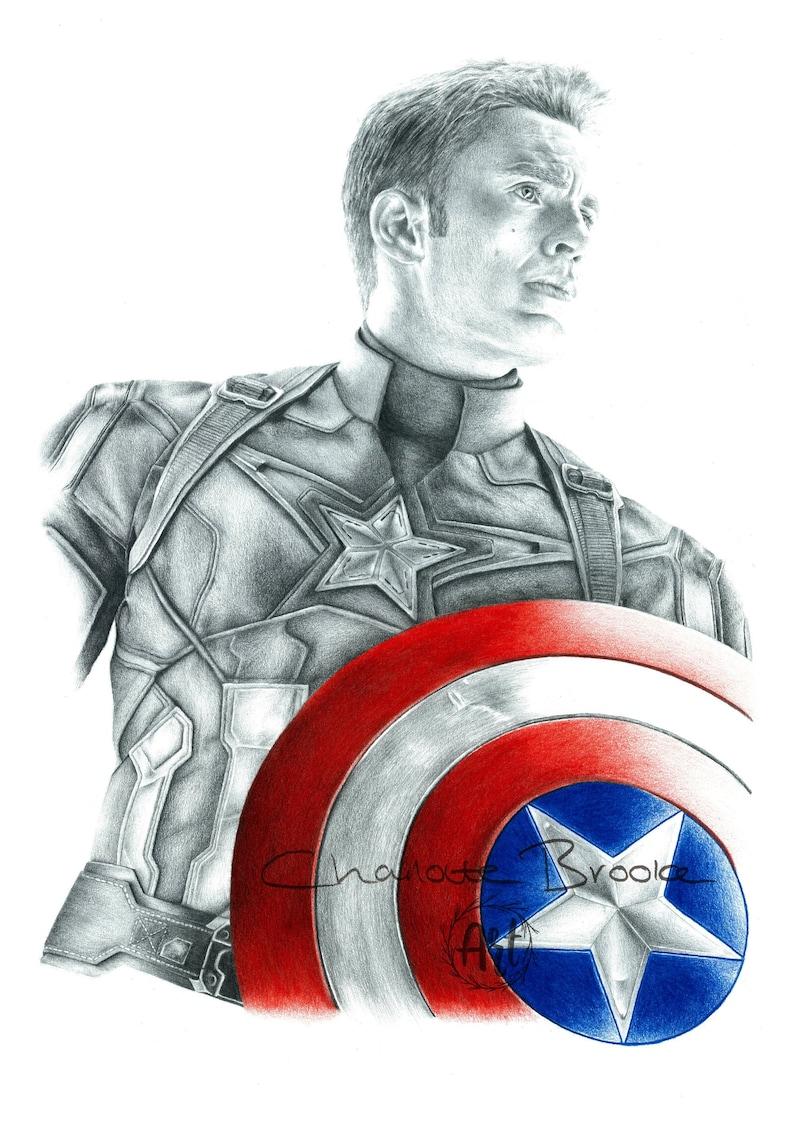 Captain america pencil portrait drawing print