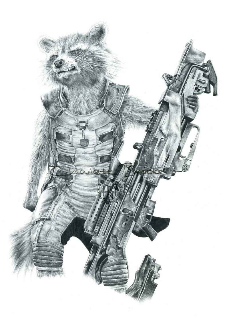 Rocket Raccoon Pencil Portrait Drawing Print Etsy