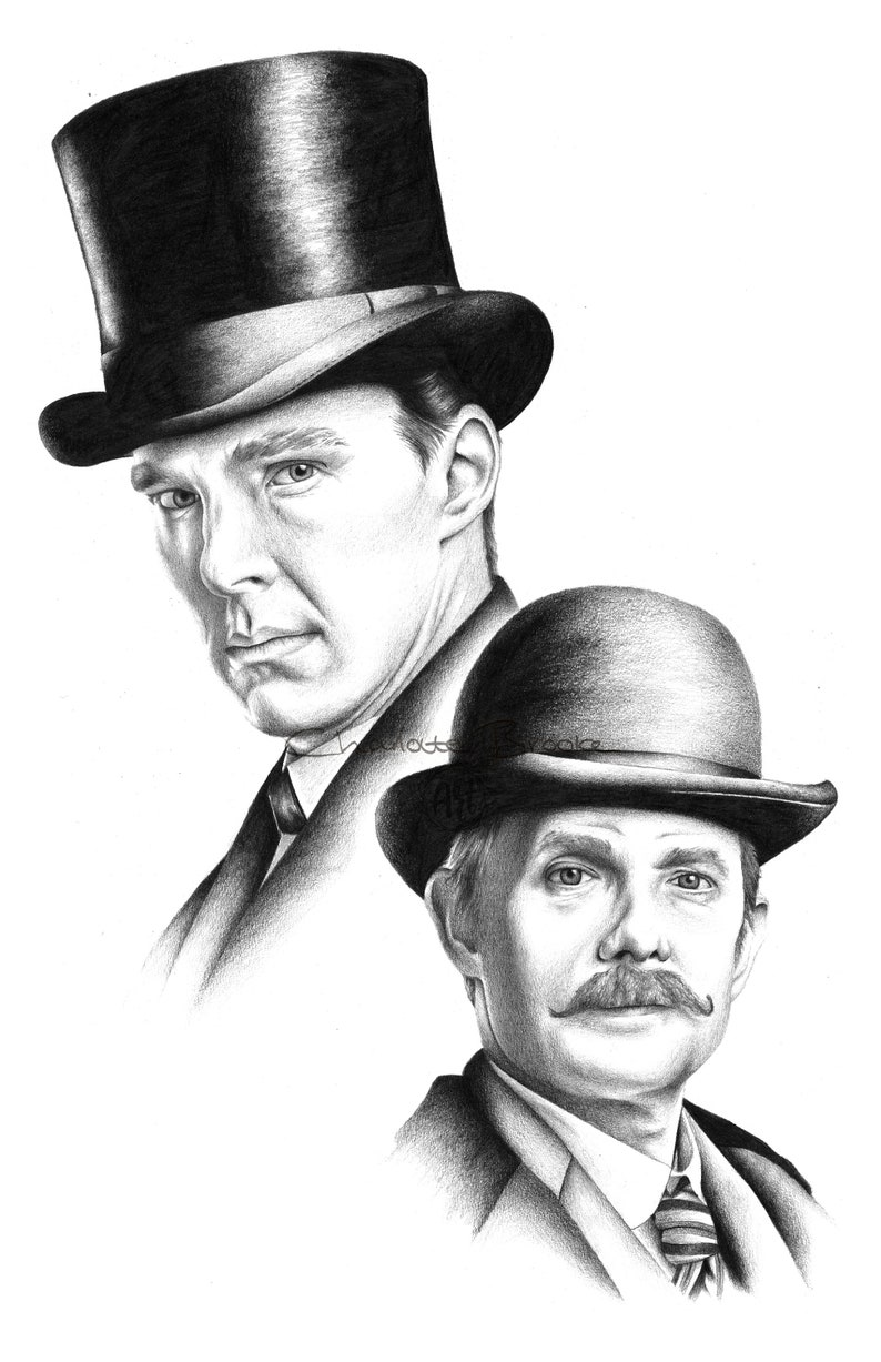 Sherlock Holmes And Dr Watson Pencil Drawing Portrait Print Benedict Cumberbatch And Martin Freeman