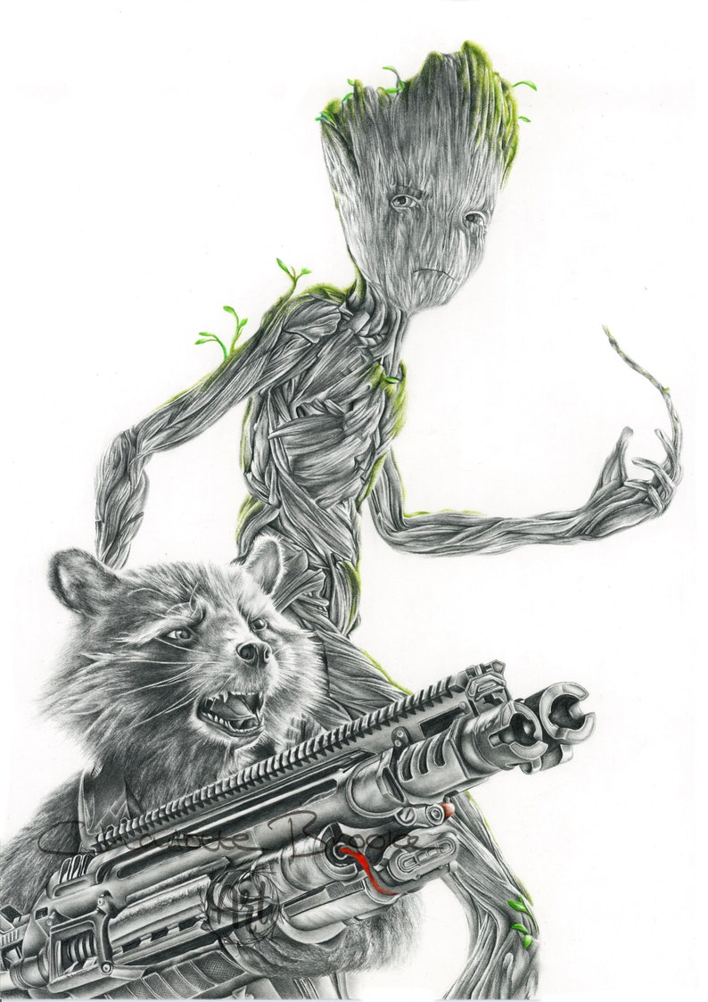 Rocket Raccoon And Teen Groot Pencil Portrait Drawing Print Etsy