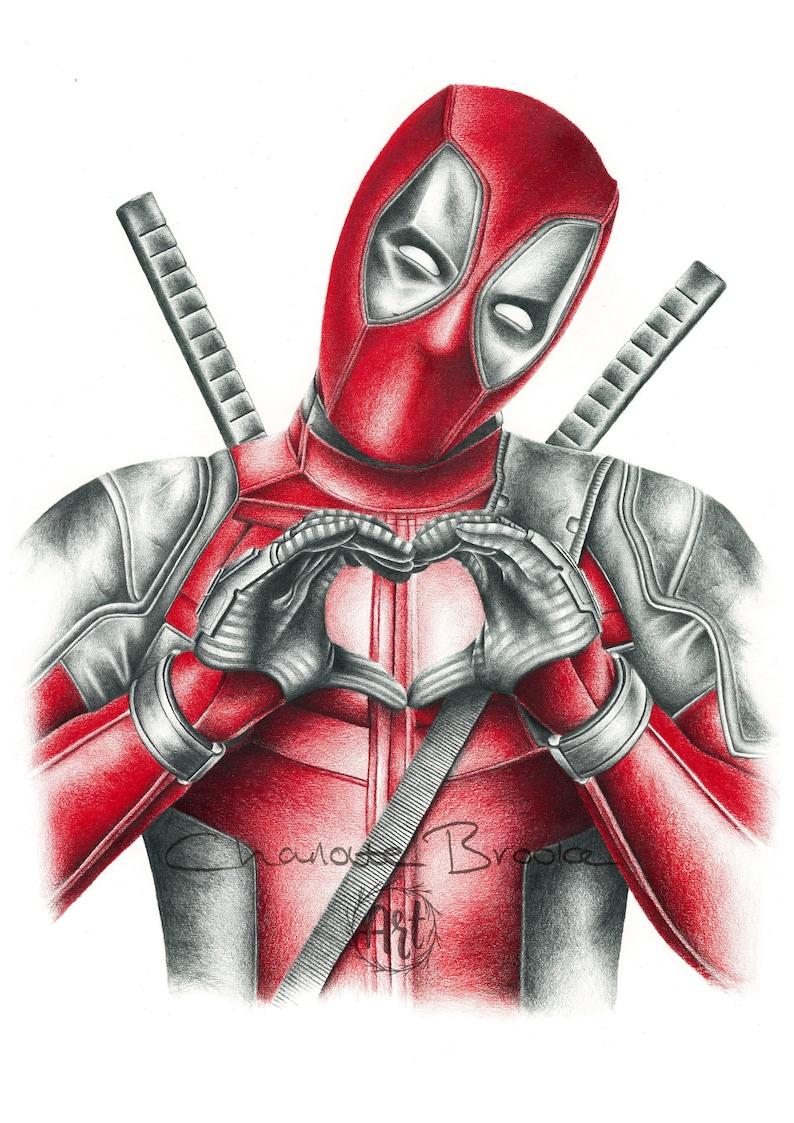 Deadpool pencil portrait drawing print