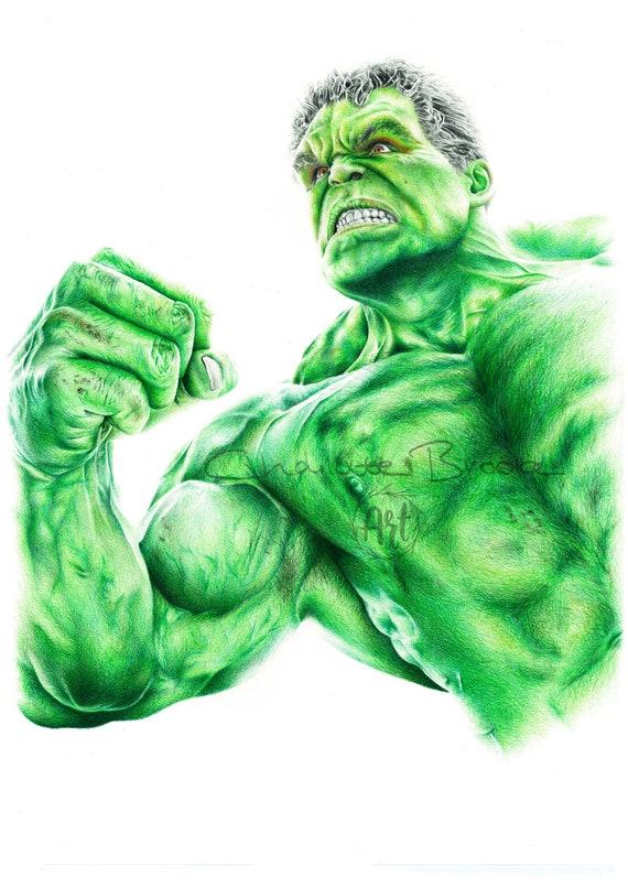 Hulk Portrait Au Crayon Dessin Imprimé
