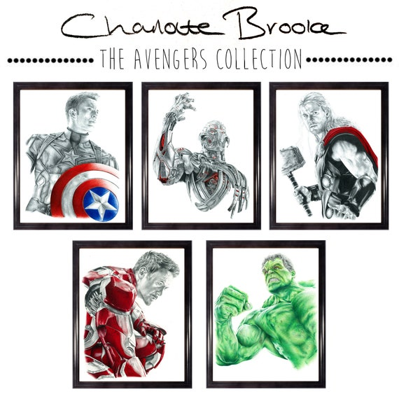 Avengers Collection Pencil Portrait Drawing Prints | Etsy
