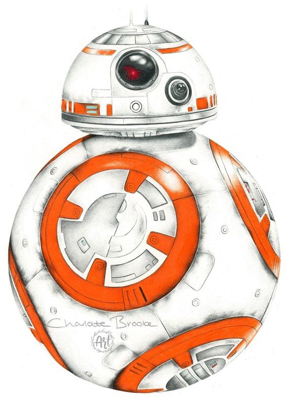 Star Wars Bb 8 Crayon Portrait Dessin Imprimé