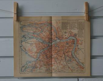 1890 Vintage Map of Saint Petersburg
