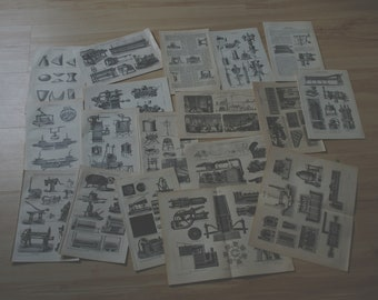 Vintage Technical Drawings Scrapbook Bundle
