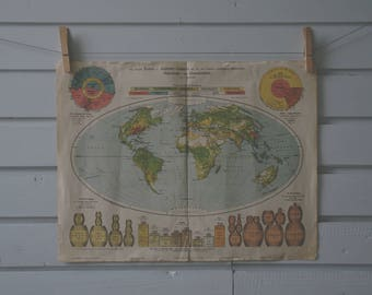 Vintage world map etsy 1917 vintage world map gumiabroncs Image collections
