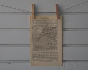 1894 Vintage Korea Bay Map