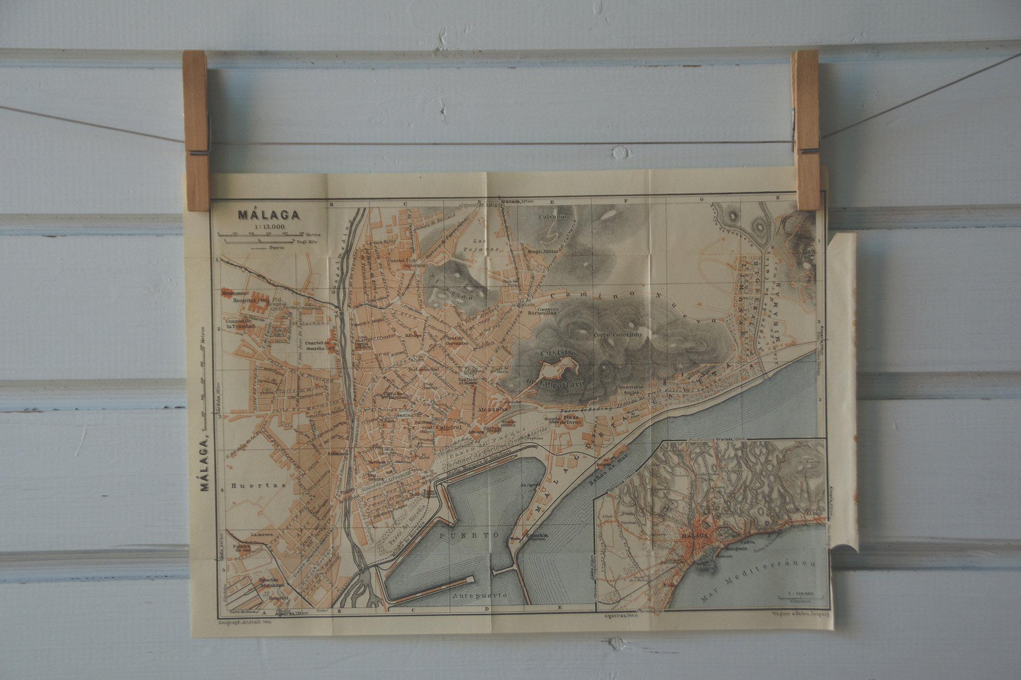 1929 Vintage Málaga Map on