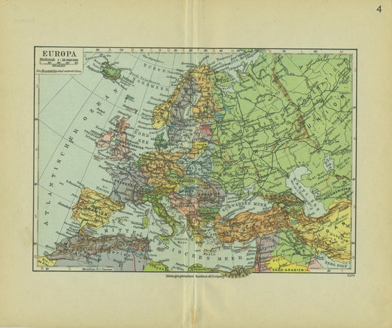 1936 Vintage Map of Europe