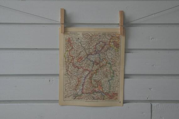 1936 Vintage Southwest Germany Map Etsy
