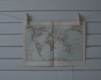1963 Vintage World Map