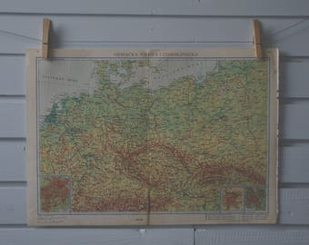1966 Vintage Central Europe Map