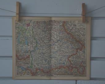 1931 Vintage South Bavaria Map