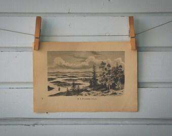 1892 Vintage Coast of Sweden Lithograph Illustration