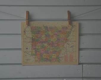1956 Vintage Arkansas Map