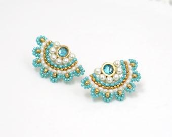 Turquoise and Pearls Beaded Fan Stud Earrings for women
