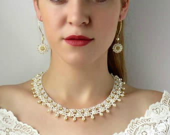 Wedding Ivory Pearl Beaded jewelry sets for bride