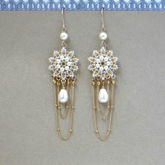 Boho star wedding earrings White porcelain star earrings Long dangle wedding earrings