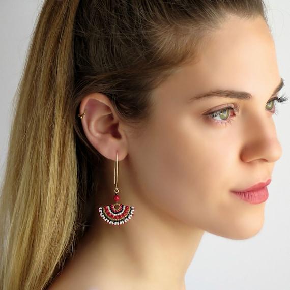 Beaded earrings stud Red black earrings Stud earrings dangle Large post earrings Fan earrings stud Ethnic earrings Red pearl earring