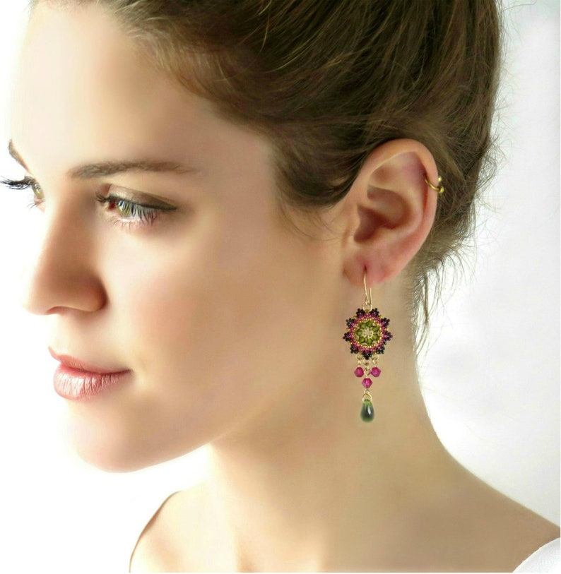 Dangle earrings gift for women Pink ang green swarovski image 0