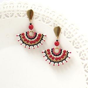 Stud earrings dangle Large post earrings Ethnic earrings Fan earrings stud Red pearl earring Beaded earrings stud Red black earrings