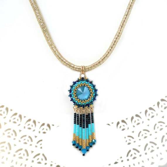 defe7799d7638a Turquoise and gold fringe necklace for women Beaded tassel