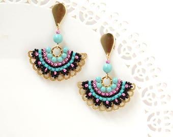 Dangle stud earrings, Fan earrings, Stud dangle earrings, Beaded stud earrings, Evening earrings, Black and pink earrings, Fan stud earrings