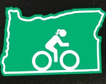 Oregon Biking Woman Magnet