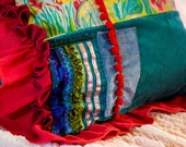 Australian wildflowers, cushion, soft funishings, floor cushions, unique style, red, teal, hand painted, feather fill, recycled fill, pretty