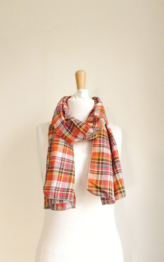 MADE IN FRANCE - Écharpe tartan marron orange rose pailletté , foulard  Tube, infini, longue, homme femme unisexe, ... 503d1e2023b