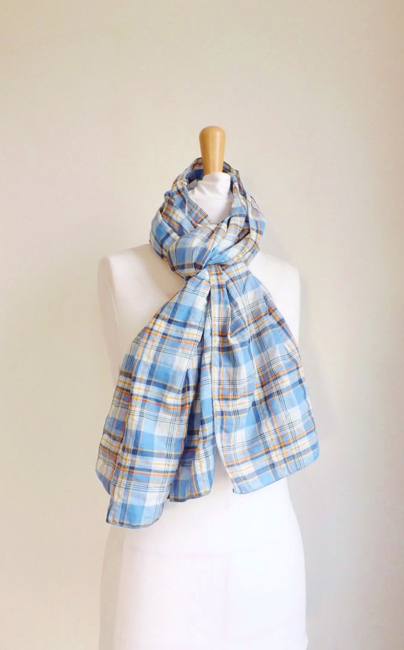 100% MADE IN FRANCE Écharpe tartan bleu beige orange Tissu   Etsy 1d00b7b52a1