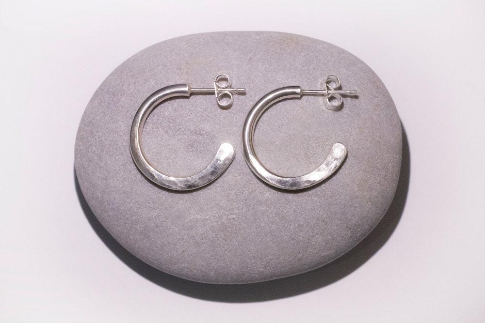 8487425a6 Thick hoop earrings, Sterling Silver Hoop Earrings, Hoop Earrings, Silver  Hoops, Hammered Silver Earrings
