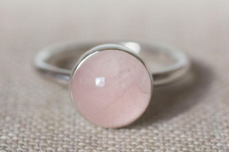 Rose Quartz Ring Pink Ring Pink and Silver Ring Pink Solitaire Ring Pink Cabochon Ring Pink Jewellery Pale Pink Quartz Ring
