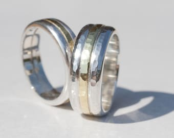 Gold and silver ring, matching rings, wedding rings, ring set, hammered gold ring, hammered silver ring