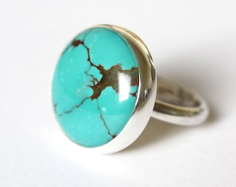 Turquoise Ring, Sterling Silver Turquoise Ring, Turquoise Silver Ring, Chinese Matrix Turquoise, Turquoise jewellery, Natural Turquoise Ring
