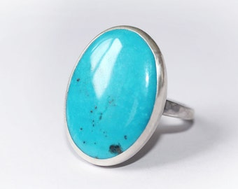Turquoise Ring, oval Turquoise Ring, Turquoise Silver, Turquoise Jewellery, Natural Turquoise Ring, December Birthstone Ring